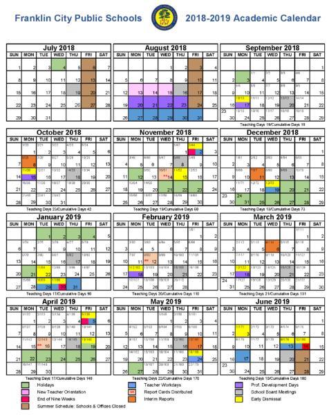 Fcps Calendar 2019 Franklin City Public Schools